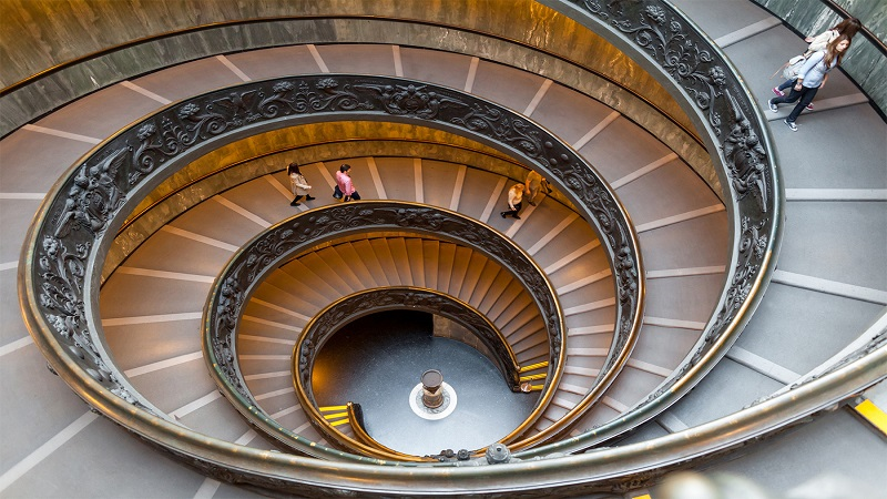 Bramante Staircase - The Bramante Staircase is a double helix staircase located in the Vatican Museums in the Vatican City State. A canopy located above provides the necessary light to illuminate the stairs. The staircase is located at the end of the museum visit and all visitors leave by this route.