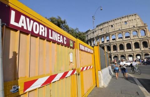 Foto LaPresse 08-08-2013 Roma Cronaca Metro C cantieri a rischio chiusura, lo stop ai cantieri annunciato per il 9 Agosto, il cantiere in Via dei Fori Imperiali