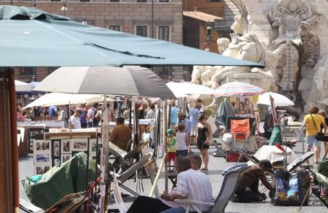 Pittori a Piazza Navona - fotografo: Benvegnù - Guaitoli